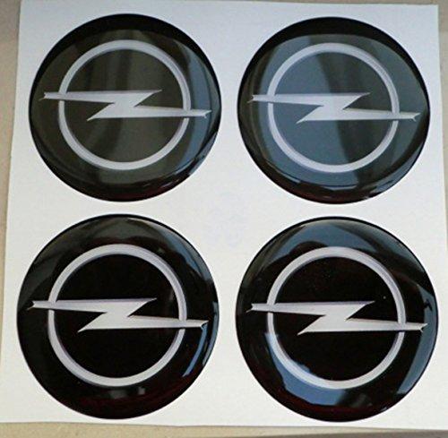 opel 50 mm nero tuning effetto 3d 3m resinato coprimozzi borchie caps adesivi stickers per cerchi in lega x 4 pezz
