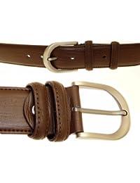 Pour des hommes cuir brun véritable ceinture Dans Gift Box - N21