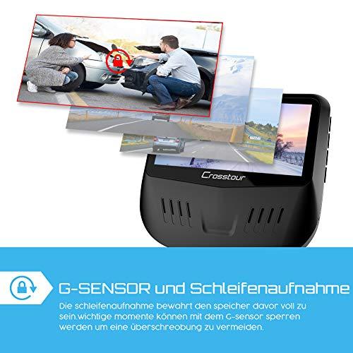 Crosstour Dashcam 1080P Full HD Vorne und Hinten Dual Lens, Externe GPS Auto Kamera, 170 ° Weitwinkelobjektiv HDR Nachtsicht, Bewegungserkennung G-Sensor Loop-Aufnahme - 7