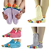 HCFKJ  Socken, 5Pairs Womens 5-Toe Bunte Yoga Gym Rutschfeste Massage Zehensocken Voll Griff (AS Shown)