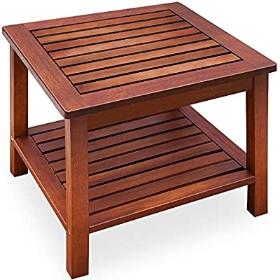 forestfoxTM Fixed Coffee Table Acacia Wood Under Storage Weather Resistant Garden Furniture