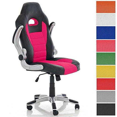 CLP Gamingstuhl John mit klappbaren Armlehnen und Kunstlederbezug I Bürostuhl mit Polsterung und Einer max. Belastbarkeit von 136 kg I erhältlich Pink