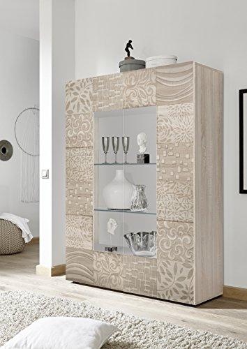 mobile vetrina 2 ante moderno ROVERE chiaro con serigrafia soggiorno madia  buffet con sportelli design MIRA 06