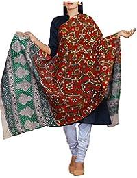 Unnati Silks Women Red Pure Kalamkari Cotton Dupatta With Floral Kalamkari Prints From The Weavers Of Andhra Pradesh...