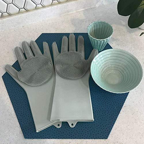 TAOtTAO Cleaning Gloves Magische Wiederverwendbare Silikon-Handschuh-Reinigungs-Bürsten-Wäscher-Handschuhe hitzebeständig (Grau)