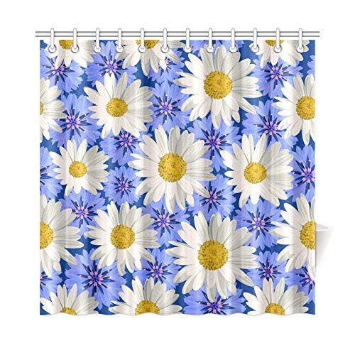Presock Home Decor Bath Curtain White Daisies Blue Cornflowers Polyester Fabric Waterproof Duschvorhang for Bathroom, 72 X 72 Inch Duschvorhangs Hooks Included Cornflower Blue Liner