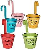 5 Stück _ kleine Hängetöpfe / Blumentöpfe / Pflanzschalen - METALL Blech - ' Flowers & Garden - bunte Farben' - Ø 11 cm - RUND - Hängend / mit Haken & Halterung - KLEIN - mit Henkel - Aufhängen - Blumenkübel / Metalltopf - Eimer / Dekotopf - Übertopf STAPELBAR - Blechtopf - z.B: Kräutergarten - Kasten / Topf - Blumen - Balkon - Garten & Terrasse Kräuterinsel - wie Blumenampel - Blumeninsel - zum Stapeln - Blumenkasten - Kübel - Retro & Nostalgie - Pflanze - Dekoration - Tischdeko