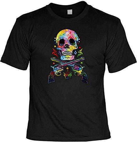 T-Shirt mit coolem bunten Motiv: Skull & Guns - Farbiger Totenkopf mit Pistole - Geschenkidee - Geburtstag - schwarz Schwarz
