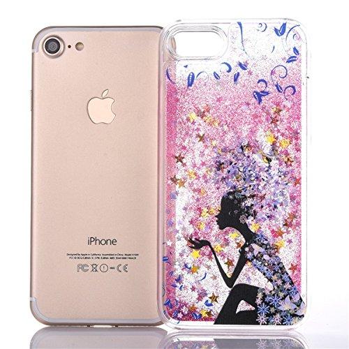 Voguecase® Pour Apple iPhone 7 4,7, Luxe Flowing Bling Glitter Sparkles Quicksand et les étoiles Hard Case étui Housse Etui(Fille papillon-Or) de Gratuit stylet l'écran aléatoire universelle Fille avec une fleur bleue-Pink
