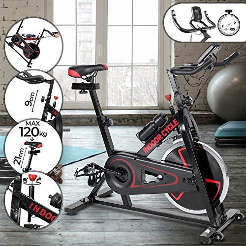 Physionics Heimtrainer Fahrrad | Ergometer, Spannungsregler, Trainingscomputer & Pulsmesser, Sitz und Griff Höhenverstellbar | Cardio Hometrainer, Fitnessbike, Trimmrad