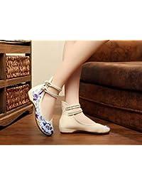 Chnuo Mujeres Suela Suave Zapatos Chinos PlanosZapatos bordados de la parte inferior suave lenguado del tendón...