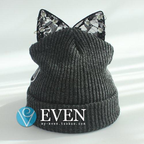 Hut, Teufel Hörner warme Winter Hüte, cartoon Cat Ear spitze Strickmütze, Bettwäsche (Der Satin Teufel)