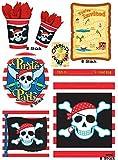 HHO Partyset Piraten für 8 Kinder 48 Teile Becher Teller Servietten Tüten Karten