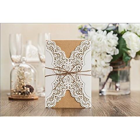 10 X tagliato a Laser, in stile rustico per biglietti di invito con papillon, vestito in omaggio, colore: bianco, con inserti per carte di credito - Ivory Pearl Carta
