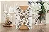 10x Laser geschnitten Rustikaler Stil Hochzeit Einladungskarten, mit Fliege, inkl. passender Umschlag, blanko Einsatz Karte und Dichtung