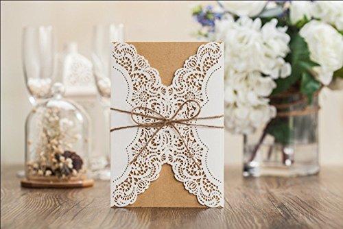 10x corte láser tarjeta de boda de estilo rústico con inserto de lazo a juego gratuito Envelop, en blanco tarjetas de invitación y Seal