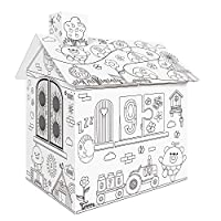 Docooler DIY Large Cardboard Coloring Creative Crafts Play House Project Assemble and Paint Educational Toys 2.2 Feet Tall For Kids Age 2,3,4,5,6,7,8