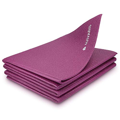 Navaris Esterilla de Yoga Antideslizante - Colchoneta de Yoga de 173x61x0.4CM - Alfombra Plegable de Entrenamiento - Esterilla de Gimnasia y Pilates
