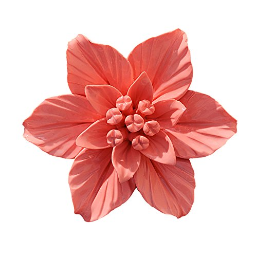 ALYCASO blühenden Blumen Keramik Pediments TV Wand Décor 3D Handgefertigte wandbehängen Zimmer Ornaments Home Dekoration Kunst L- 4.7 in Gardenia Orange -