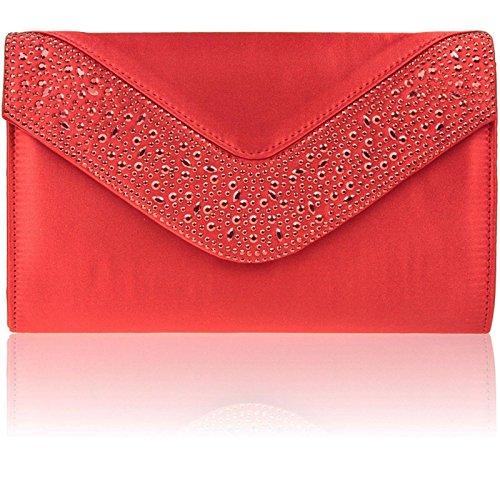 Zarla Diamante satinato, da donna, per abiti da sera-Sacchetti per feste con busta, motivo: punta piatta Rosso (rosso)