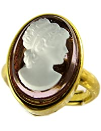 Lily-Crystal [P1635] - Nave anillo 'Divine Camée' oro amatista - 15x11 mm.