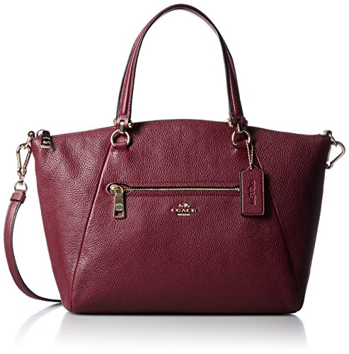 Borse Shopping Coach Donna Pelle Borgogna e Oro 34340LIBUR Rosso 8.5x20.5x26 cm