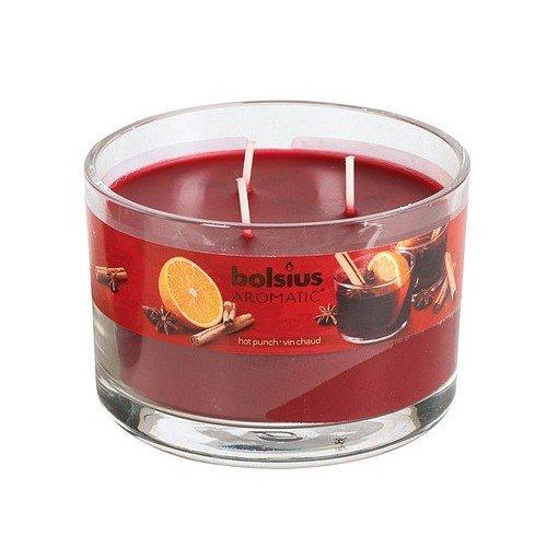 Bolsius 103625990346 3-Docht Duftglas Glühwein 7,5x, rot (1 Stück)