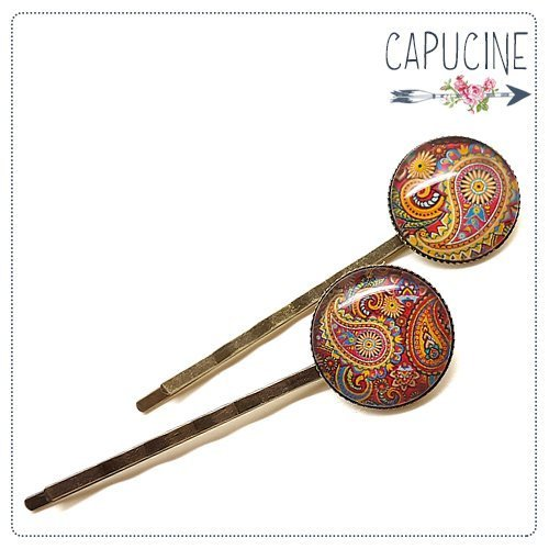 2 pinces Cachemire bronze et cabochons verre - pinces cheveux Cachemire - Barrettes cheveux illustrées - Cachemire
