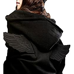 hqclothingbox Women Hit 3D Angle Wings Hoodies Hooded Causal Full sleeve Cadigan Plus Size Sweatshirts