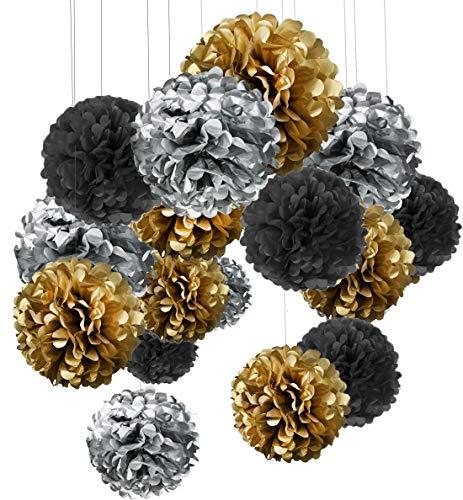 15er Set Pompoms Deko Bunt Seidenpapier Pompons für Hochzeit, Geburtstag, Party Gold Schwarz Silber(3pcs*30.5cm/6pcs*25cm/6pcs*15.5cm) ...