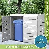Juskys Edelstahl Mülltonnenbox Arel | 2 Mülltonnen je 240 Liter I Schiebedach & verschließbare Türen I Metall Mülltonnenverkleidung Müllbox