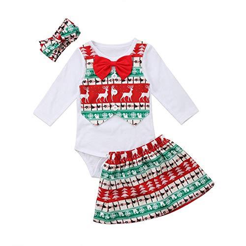 Natale vestiti di babbo natale costume natalizio bambina - 3 pezzi prima di natale con stampa di testa di cervo falso vestito in due pezzi di gonna in cotone regalo ragazza del ragazzo del bambino app