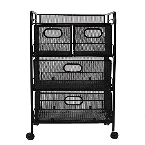 Mind Reader 4DRMESH-BLK 4 Rolling Mesh, Metal Drawers, File, Utility, Office Storage, Heavy Duty Multi-Purpose Cart, Silver, Black