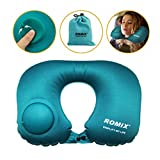 Coussin repose tete oreiller avion oreiller de voyage gonflable pour cou,menton,tête avec paquet sac.(bleu)