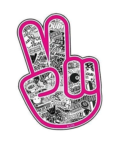 Vinyl-Aufkleber für Kfz, Motiv: Hand mit Friedenszeichen Peace, mit rosafarbenem Rand und schwarz-weißen Bildern, 110x 80mm