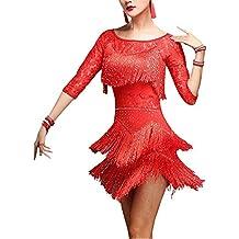 Vestidos De Baile Tango para Mujer Salsa con Borlas Mode De Marca Encaje Vestido De Fiesta De Rumba 3/4 Mangas Cuello Redondo Vestido De Cóctel De Corte ...