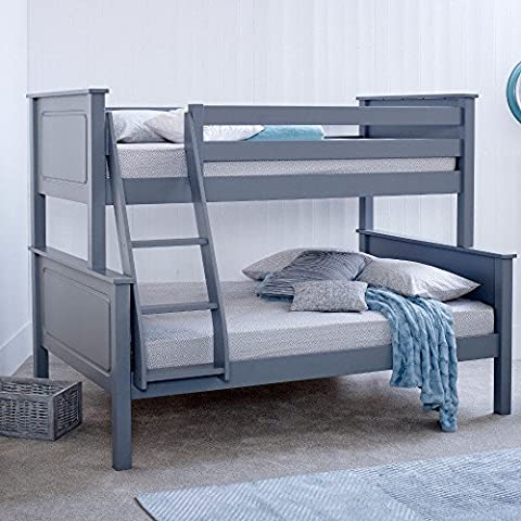 Happy Beds Vancouver Triple Sleeper Bunk Bed Grey Wooden with 2 x Memory Foam Mattresses 3' Single 90 x 190 cm Top and 4' Small Double 120 x 190 cm