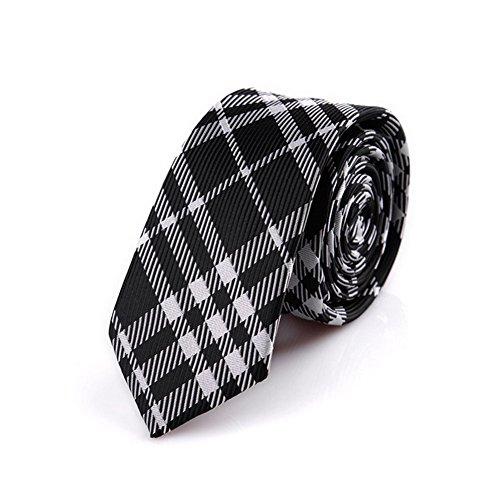 ktie White Black Stripes Skinny Tie (Skinny White Tie)