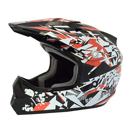 Viper Helmets Craze RSX13 Casque de Moto pour Enfants, Noir/Rouge, 57-58