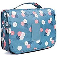 Travel Toiletry Bag,Folding Travel Wash Bag,Portable Comestic Organiser,Waterproof Hanging Organizer Bag,Travel Makeup Bag for Women and Girls (Blue Flower)