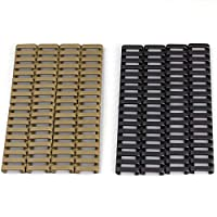 "SYWAN 8pcs Picatinny Rubber Handguard 20mm Heat Resistant Rifle Ladder Rail Cover 1""x 7"" 4pcs Black and 4pcs Sand Color"