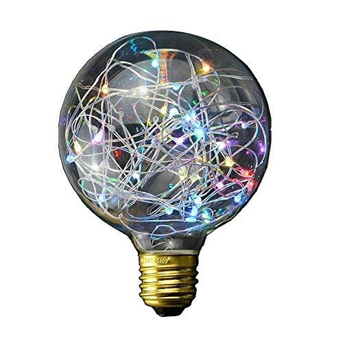 E27 G95 Star LED Deko Glühlampen, KEEDA Feuerwerk Edison Vintage Style LED Beleuchtung Leuchtmittel, LED-Glühbirnen, Vintage Anhänger Glas Licht, 2200 K, 3W(Mehrfarbig) - Glühbirne Aus Glas Anhänger