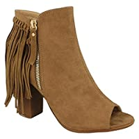 Spot On Womens/Ladies Zip Up Ankle Boots with Tassel Detail