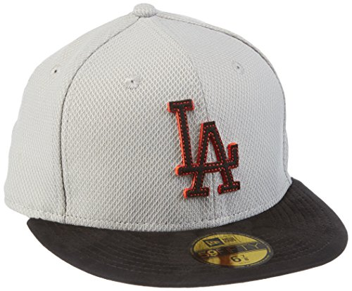 New Era Cap Diamond Suede Los Angeles Dodgers Gray/Black/Hot Red, One Size Suede Visor Cap