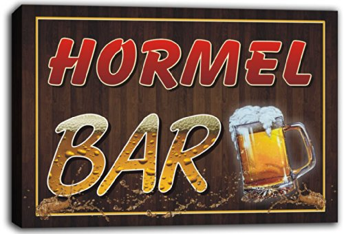 scw3-057319-hormel-name-home-bar-pub-beer-mugs-stretched-canvas-print-sign