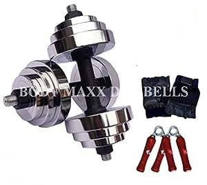 Body Maxx 24 Kg Adjustable Steel Chrome Plated Dumbells + Dumbells rods + Gloves + Rope, Home Gym Set
