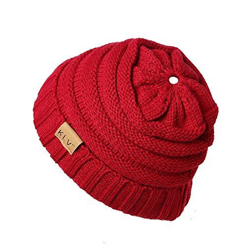 Beanie Strickmütze Damen Mütze Winter mit Loch für Pferdeschwanz Herren Wintermütze Jersey Hut Wollmütze XXYsm (Weinrot-Damen, Einheitsgröße)