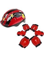 Generic Set de 7 Protections Sécurité de Skate Roller Vélo pour Enfant Casque+Genouillères+Coudières+Coussins Poignet