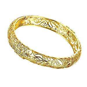 Bracciale rigido in filigrana, placcato in oro giallo 18 carati, motivo fiorellini