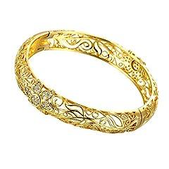 Idea Regalo - Bracciale rigido in filigrana, placcato in oro giallo 18 carati, motivo fiorellini